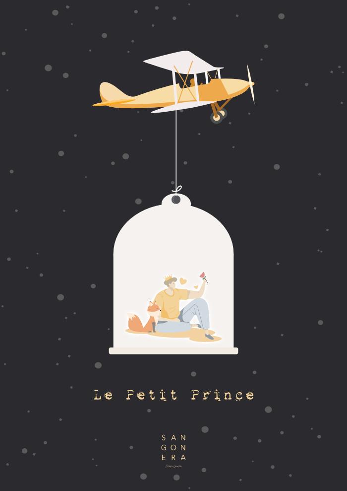 el principito, avión, niño, noche, estrellas, Sangonera Desing
