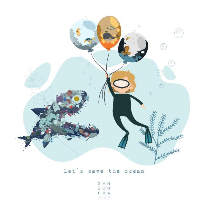 Lámina solidaria, salvemos el océano, Ilustración, Sangonera Design