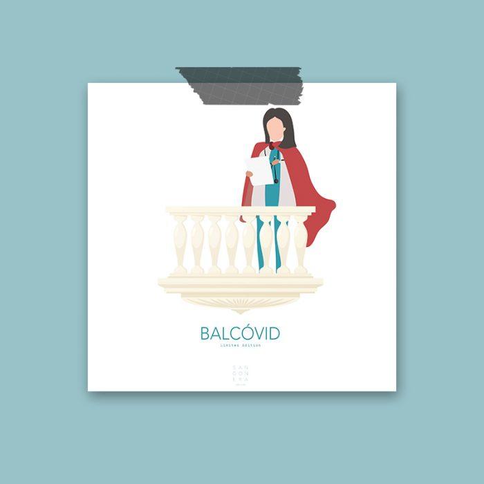 Enfermera en balcón, Ilustración, Sangonera Design