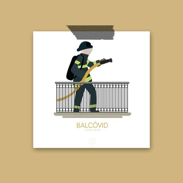 Bombero en balcón, Ilustración, Sangonera Design