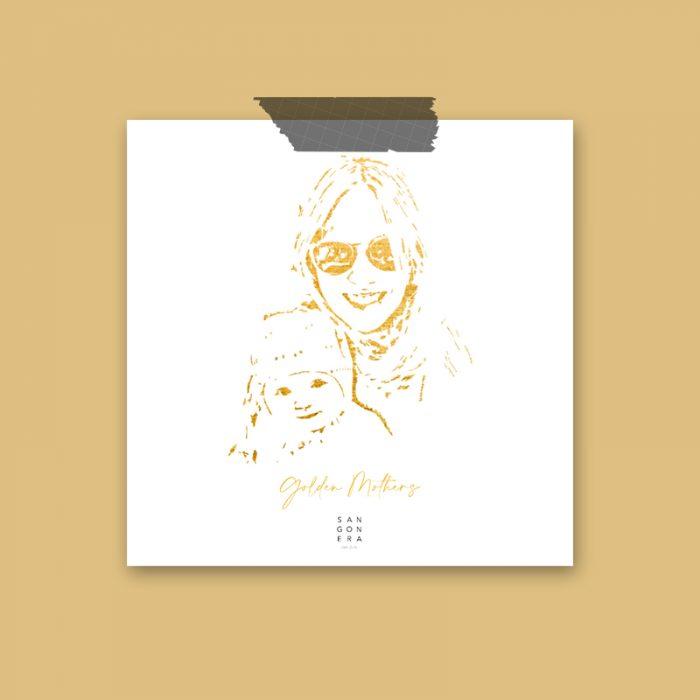 Golden Mothers, Dibujo a mano, Dibujo de madres, Sangonera Design