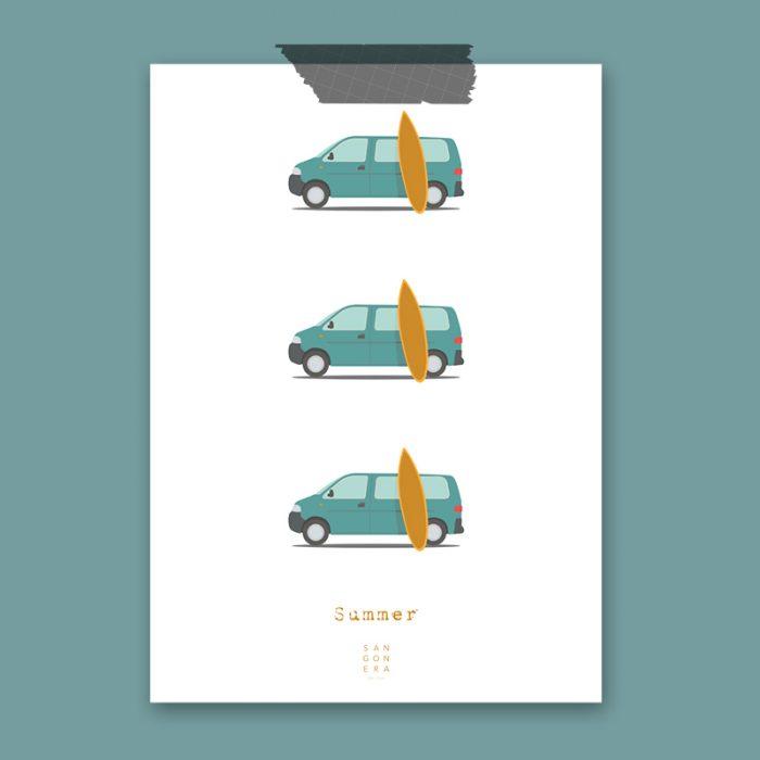 Dibujo de furgonetas, camper vans, Ilustración, Sangonera Design