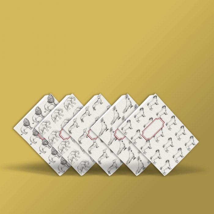 Libretas hecha a mano de carlino, teckel, elefante, loro y león, Sangonera Design