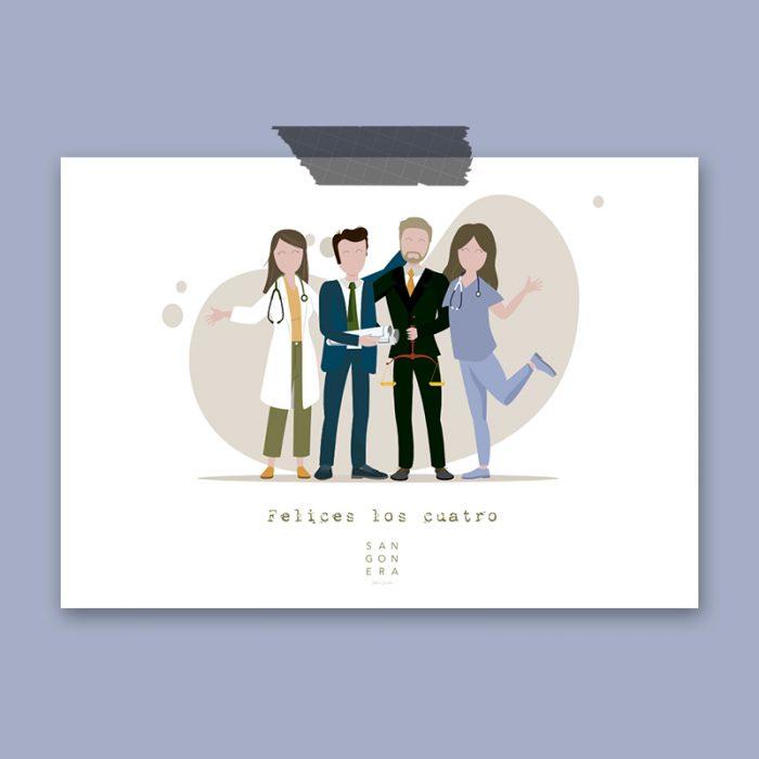 Felices los cuatro, Ilustración Digital, Sangonera Design