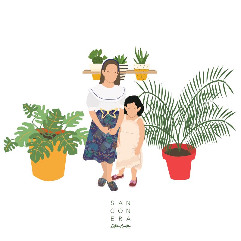 Hermanas de pequeñas, plantas, Ilustración Personalizada Digital, Sangonera Design