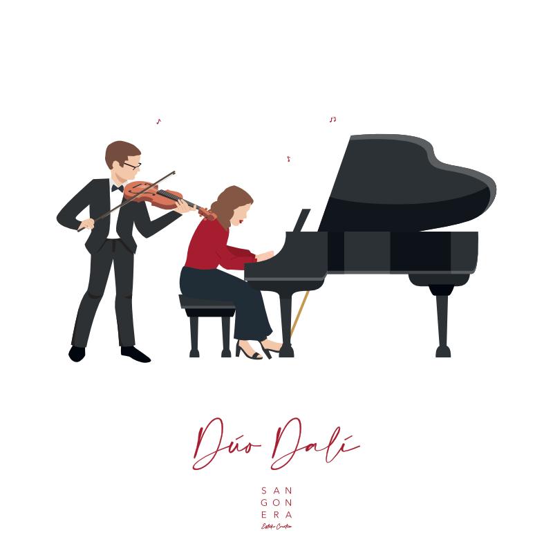 Duo Dalí violín y piano, Música, Ilustración Personalizada Digital, Sangonera Design