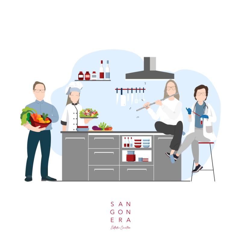 Familia en la cocina, cocinera, músico, flauta, médico, frutas y verduras, Ilustración Personalizada Digital, Sangonera Design